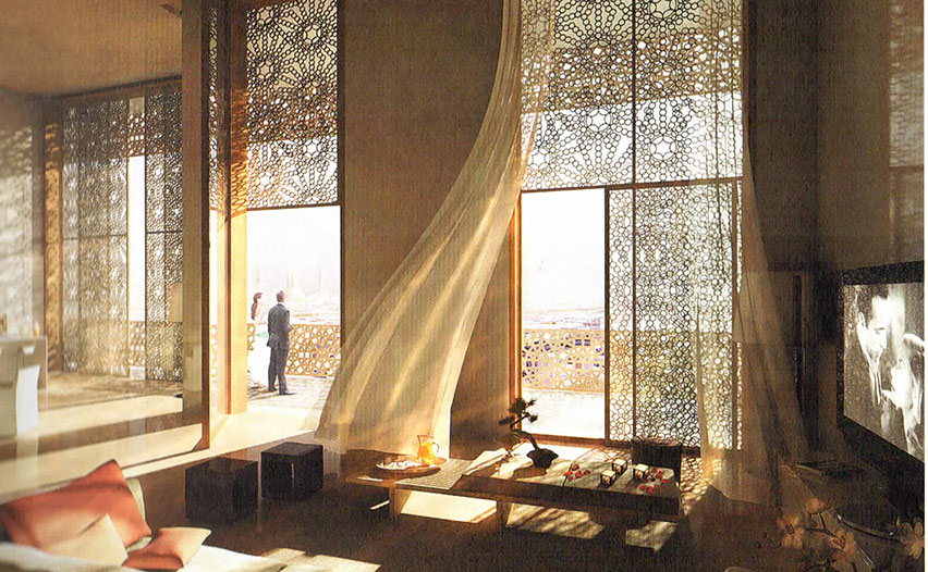 Die Ausstattung der Häuser knüpft an die arabische Tradition an - die Zukunft beginnt mit dem Blick auf die Windkraftanlage im Hintergrund im Kontext den Minaretten.